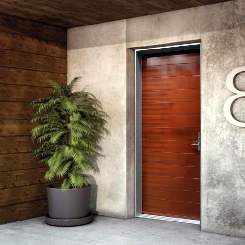 Portes d 39 entr e contemporaines urbania portatec for Peinture revetement exterieur aluminium