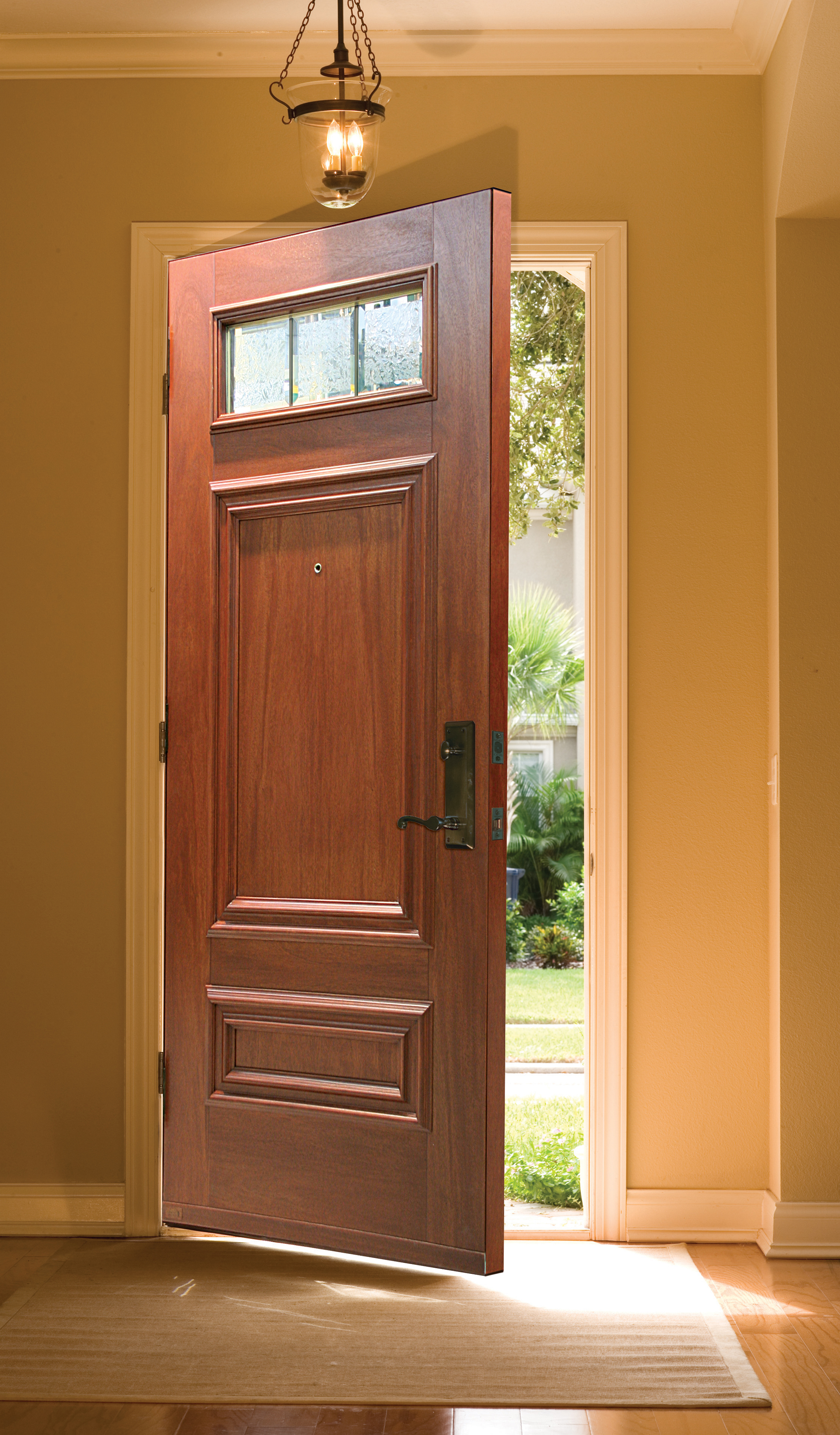 Porte simple avec finition de bois int rieure cerisier for Modele de porte