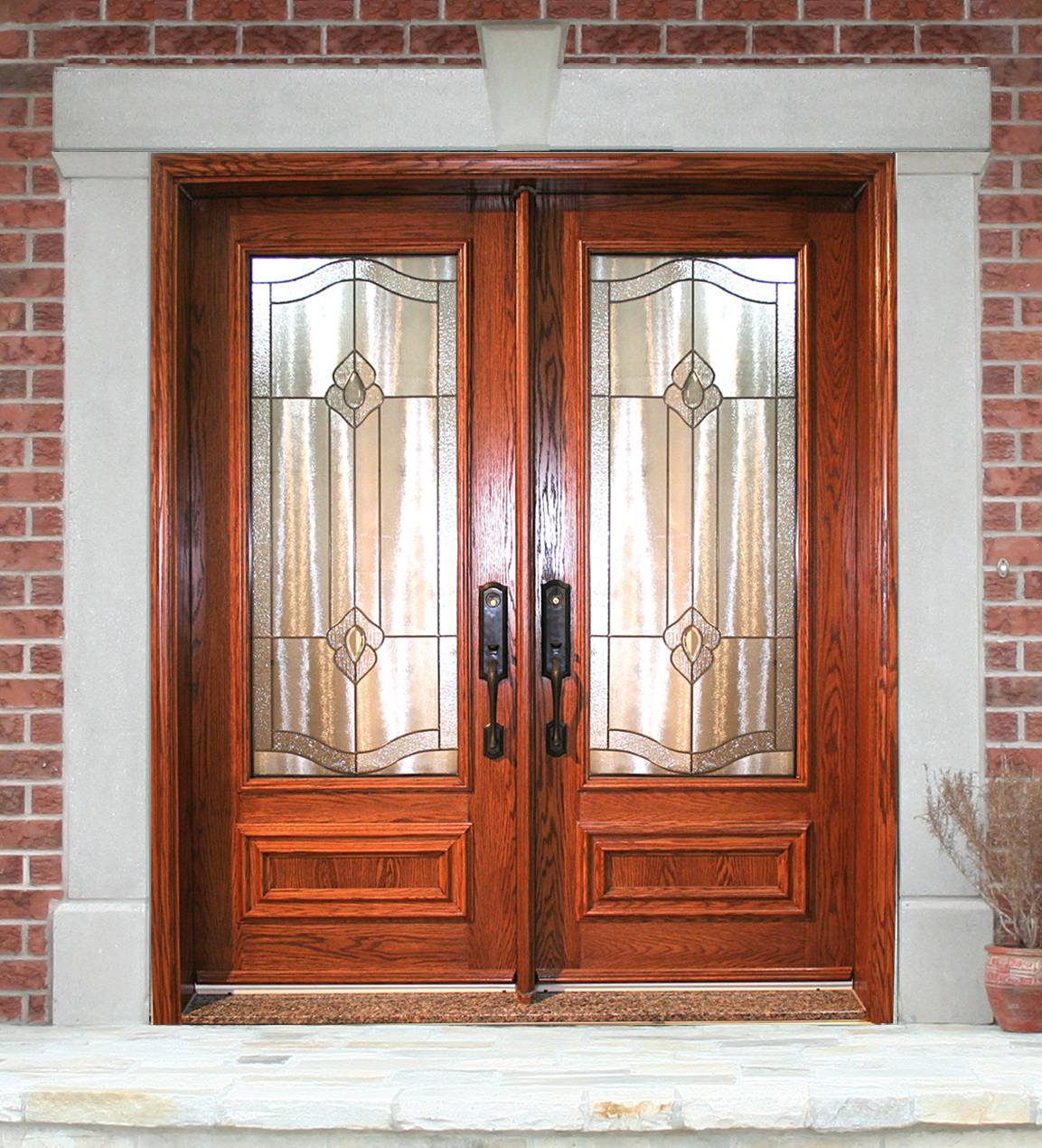 1269 #A64625 Double Steel Door 22 Gauge Steel With Exterior Oak Finish. Door With  wallpaper Steel Double Doors Exterior 42151153