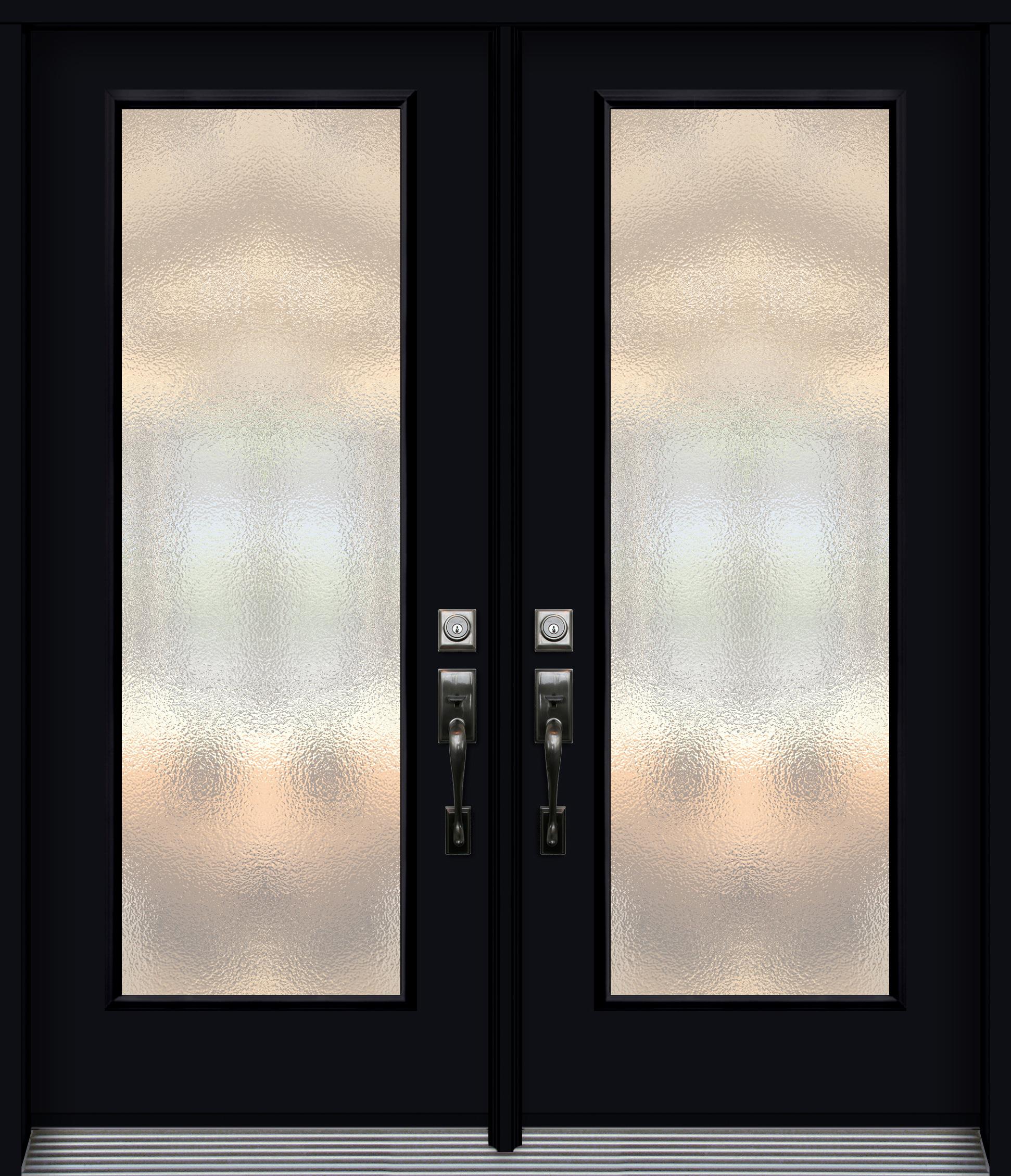 Pa60 porte en acier unie double unit vitr e noir for Porte en acier