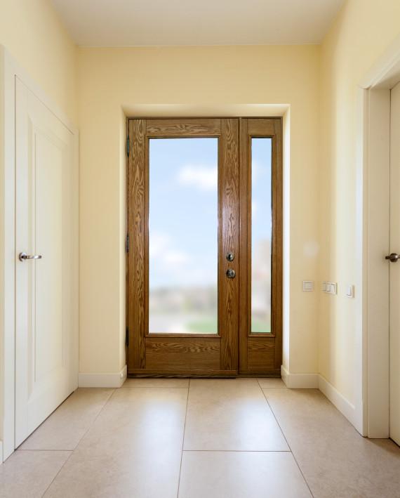 porte avec 1 lat ral et finition de bois int rieure ch ne avec unit s vitr es portatec. Black Bedroom Furniture Sets. Home Design Ideas