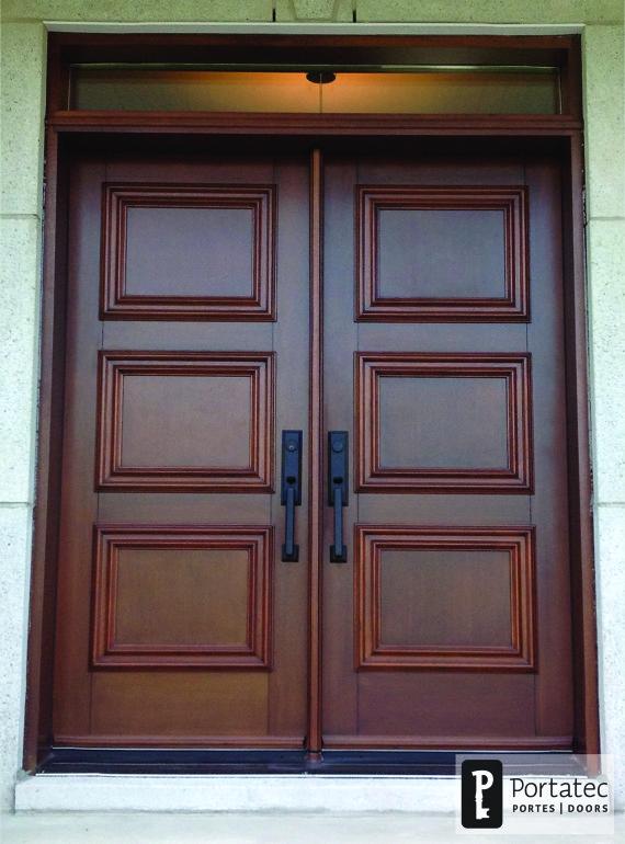Porte double bois imposte rectangle portatec fabricant de portes sur mesure - Porte en bois ...
