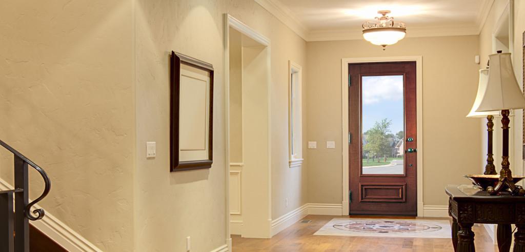 Porte simple avec finition int rieure en bois merisier et unit vitr e portatec fabricant - Porte interieure vitree ...