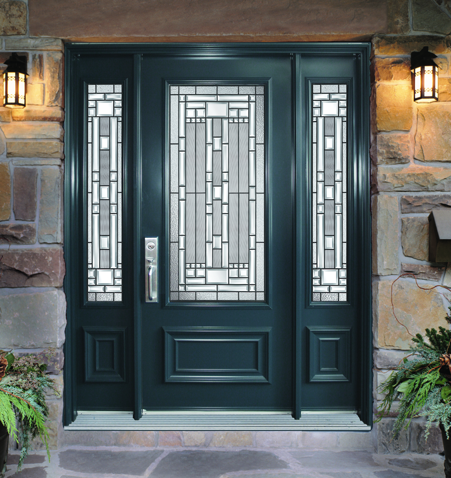 Steel door with 2 sidelites naples glass models portatec for Steel home entry doors