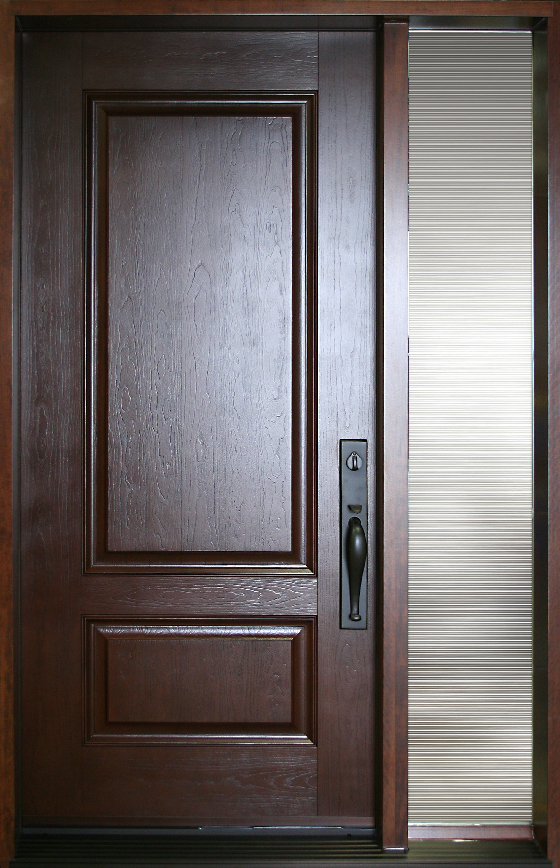 Fiberglass door nov 2pr with full glass sidelite portatec for French main door designs