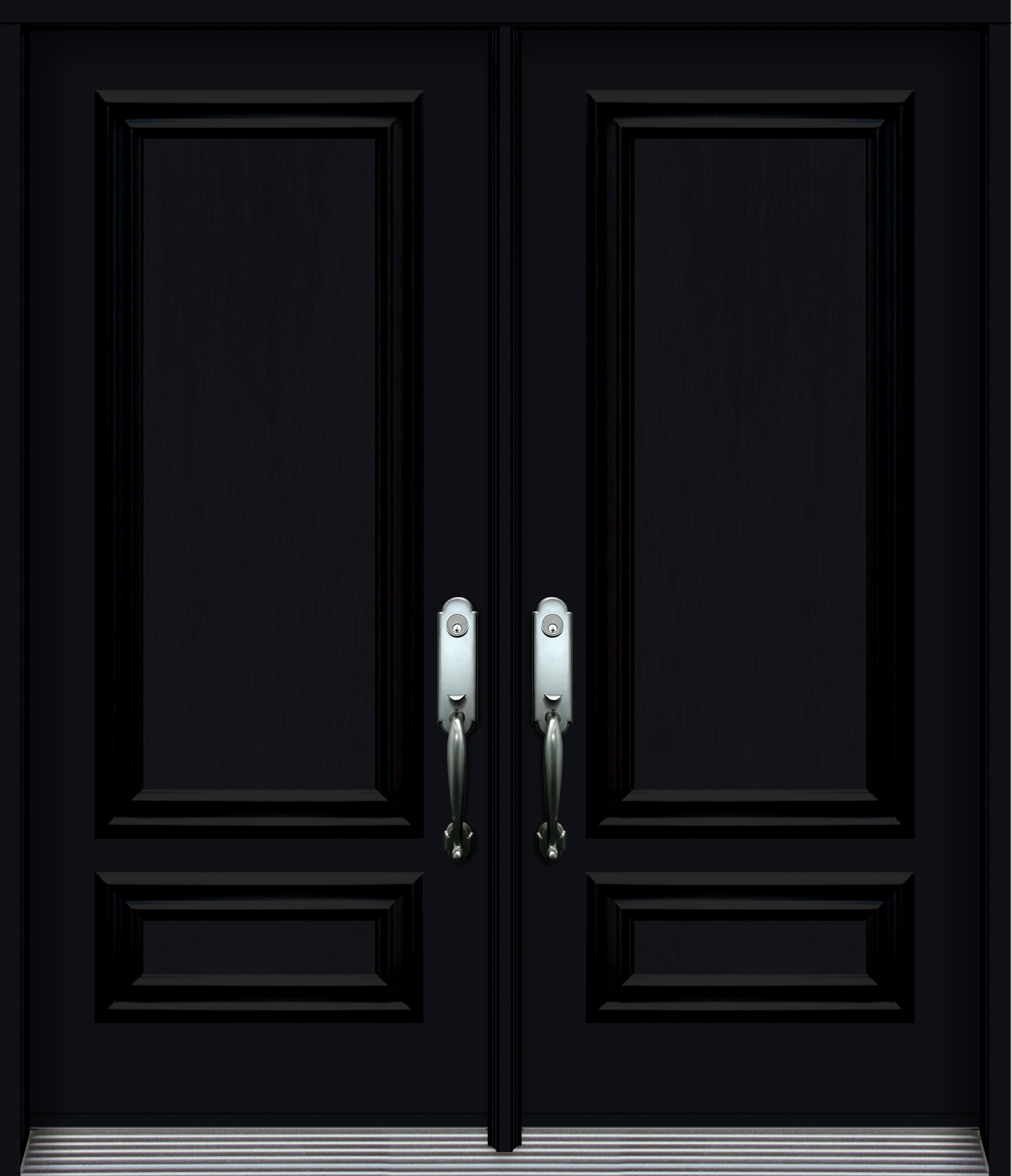 Nb5410 Steel Double Door With Decorative Panels Black