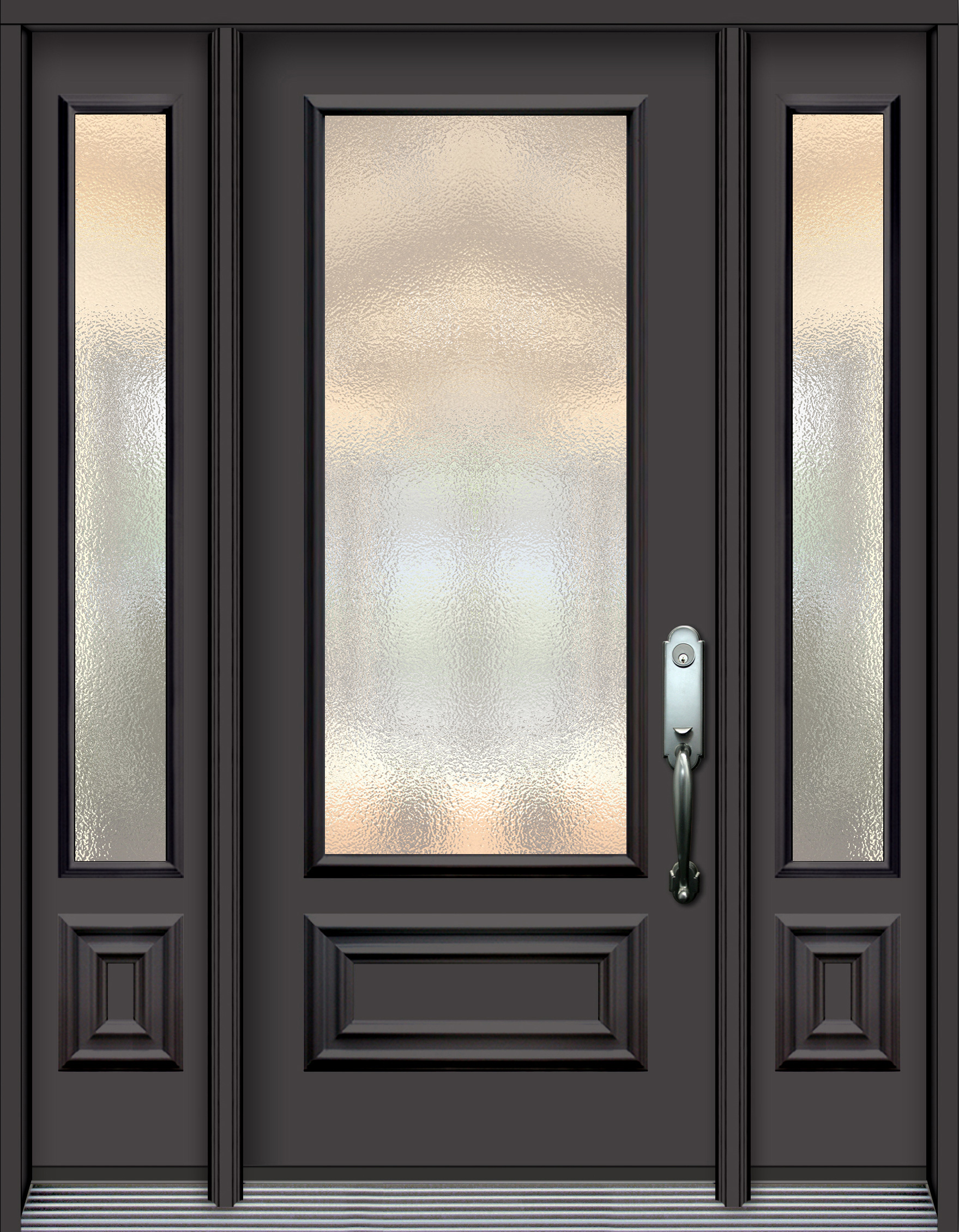 Pa77 steel door with decorative panel and glass unit 2 - Commercial steel exterior doors with glass ...