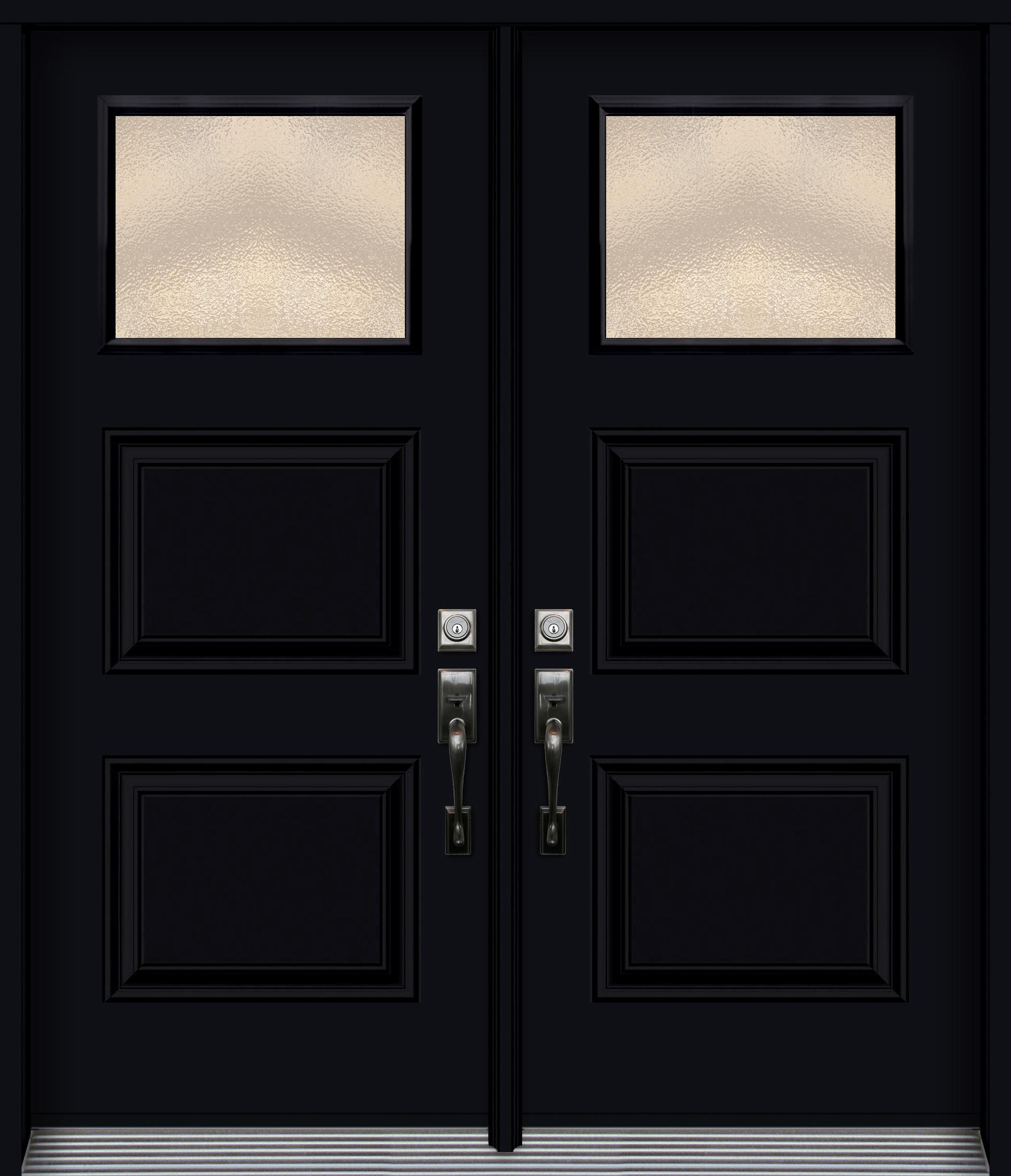 Pa3pv porte en acier double emboss e 2 panneaux noir - Porte d entree double ...