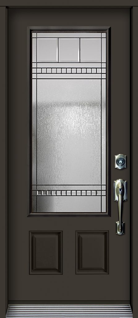 Pa76 Embossed Steel Door With Chanelle Glass Unit