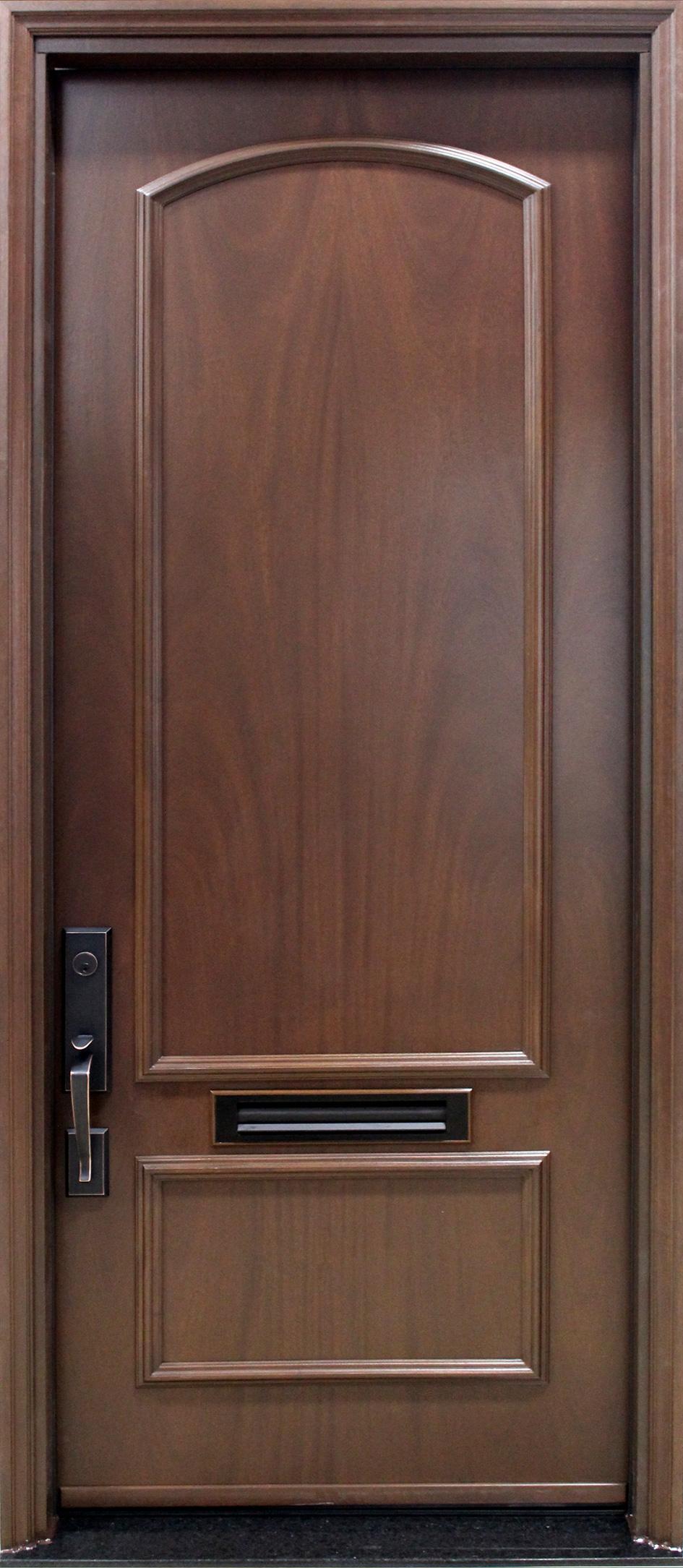 Porte acier bois panneaux d coratifs acajou for Porte de garage bois 2 vantaux sur mesure