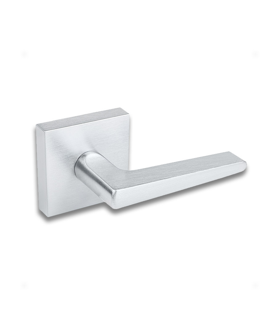 Livia Lever Handle with Rectangular Escutcheon - Brushed Chrome